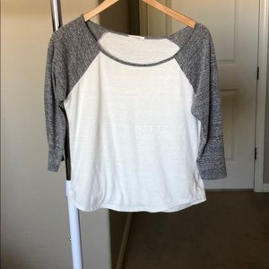 Tops - Heather grey and white baseball tee